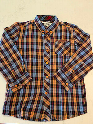 Toddler Boys Ben Sherman Blue/Orange Plaid Button-down Shirt Size 4-5Y