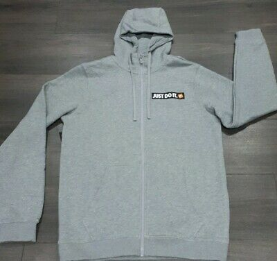-Mens Grey Nike 'Just Do It' Zip Up Hoodie. Size Medium. Brand New with tags