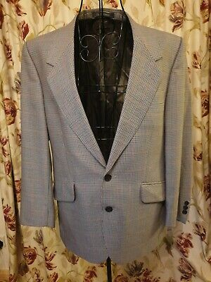 Vintage Burberry London Dog Tooth Wool Mens Blazer Dormeuil
