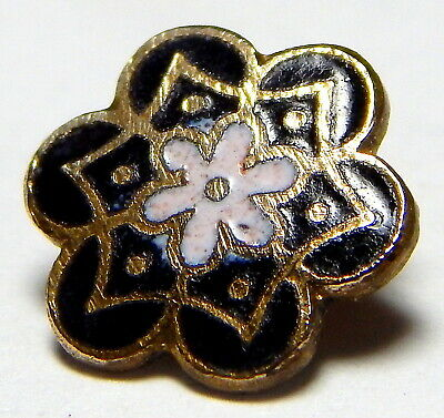Antique French Victorian Gilt Brass Black & White Champleve Enamel Flower Button