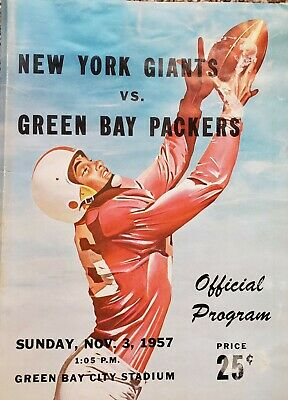 Nov 3 1957 NEW YORK GIANTS VS GREEN BAY PACKERS Official Program GB City Stadium