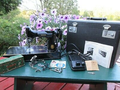 Vintage 1951 Singer 221 Featherweight Sewing Machine With Case + Attachments