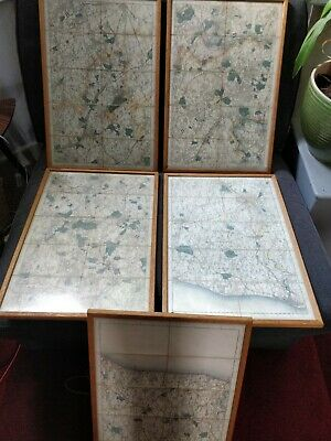 Antique c1870s Edward Stanford OS Maps very very rare and framed vgc