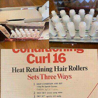 Vintage Carmen Rollers Conditioning Curl 16 Heated Curlers & Clips BOXED
