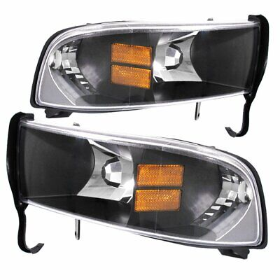 Black Amber Housing Headlights For 94-01 Dodge Ram Truck 1500 2500 1Pc Pair