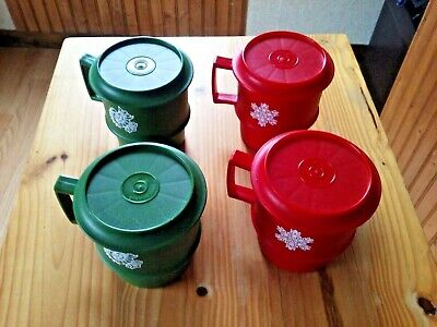 Vintage TUPPERWARE Red Green Christmas Set of 4 Stackable Coffee Cups # 1313
