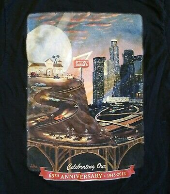 In-And-Out Burger California 65th Anniversary Black T-Shirt Small Thick Material
