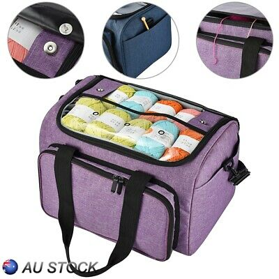 Large Knitting Crochet Yarn Drum Storage Fabric Tote Carry Bag Clutter Organizer