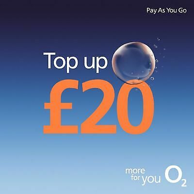 O2 - £20 - Mobile phone Top Up Vouche - Pay as You Go