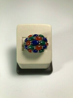Sterling Silver Old Vintage Natural Stone Malachite Lapis Lazuli Ring Size 6.25