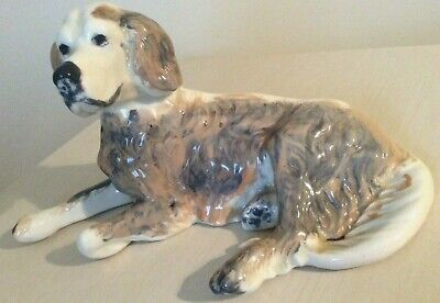 Large Vintage Porcelain Dog Figurine Collectable Beautifully Glazed Piece Heavy