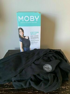 Moby Wrap Baby Carrier Black For Babies 8-35 lbs 100% cotton Used Good Condition