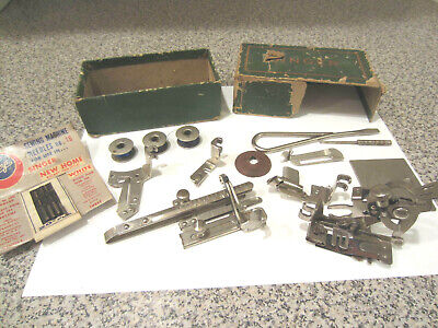 Vtg Singer Sewing Machine Attachment Set Box Tucker Hemmer Ruffler Slide Plate