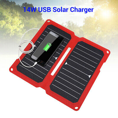 14W 5V 2.8A Solar Charger Panel with USB Port Foldable for Phone Climbing Skiing