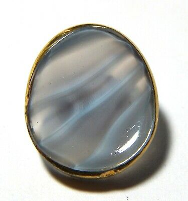 Cool Mid Century Milky Opalescent Lavender & Blue Slag Glass Moonglow Button