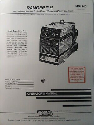 Lincoln Ranger 9 Welder Generator Owners & Onan Engine Parts (2 Manual s) Gas