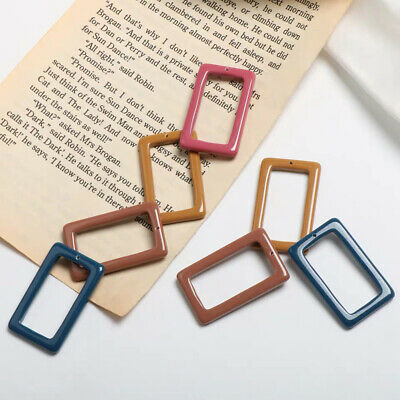 5x Ancient Resin Rectangle Pendant Earring Ear Wires For Jewellery Making