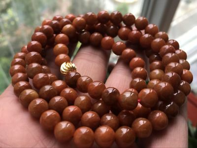 Certified 100% Brown Red Jadeite Jade Round Beads Necklace 8mm108 beads:2452