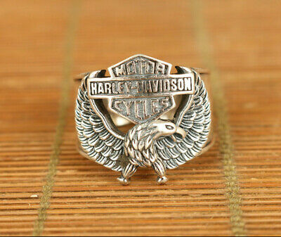 Chinese  925 silver hand carved eagle big ring 0.8 inch inner diameter