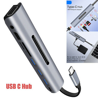 9 In 1 USB C Type C 3 Dock Adapter to 3.0 HUB 4K HDMI PD TF VGA for MacBook Pro