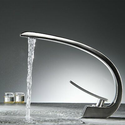 Brushed Nickel  Bathroom Faucet Centerset One Hole/Handle Cold/Hot Mixer Tap