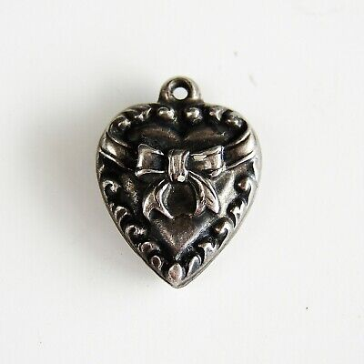 Antique Vintage Signed Sterling Silver Puffy Hearts 3D Bow Tie Charm