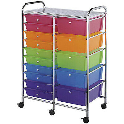 "Double Storage Cart W/15 Drawers-25.5""X38""X15.5"" Multicolor, SC15MCDW"