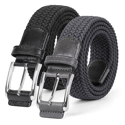 JASGOOD Men Braided Canvas Fabric Belt No Hole Woven Elastic Stretch Belts 344