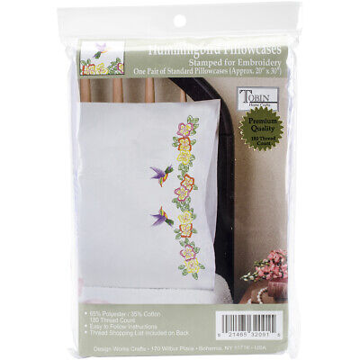 """Tobin Stamped For Embroidery Pillowcase Pair 20""""X30""""-Hummingbird, T232091"""