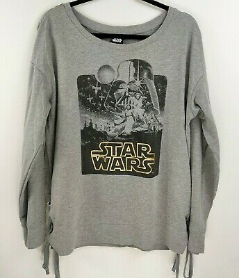 Star Wars Women's Long Sleeve Gray Pull Over Light Sweat Shirt Lace Up Sides 2XL