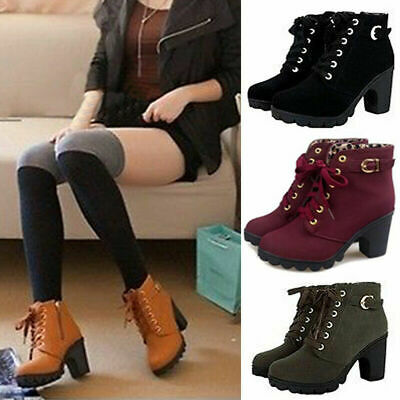 Women Lace Up Ankle Boots High Block Heel Buckle Zip Ladies Chunky Shoes Booties