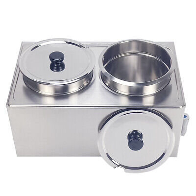 2 Round Pots Electric Bain Marie Catering Soup Commercial Food Warmer Container