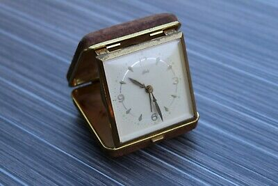 Nice Looking Swiss Made Schatz 8 Jewel Working Travel Clock & Case.