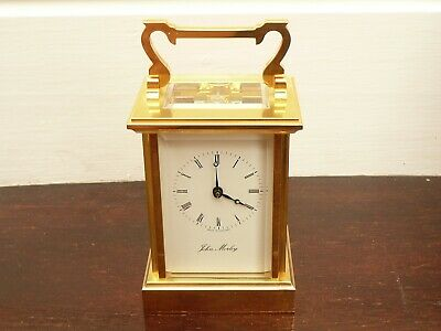 Fab John Morley 8 Day Gold Plated Mantle Carraige Clock With Box & Papers In Fwo