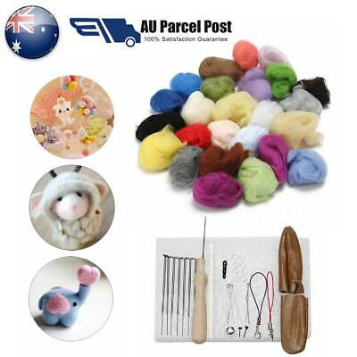 Starter DIY 25 Colour Wool Felt Needles Tool Set + Needle Felting Mat Kit AU