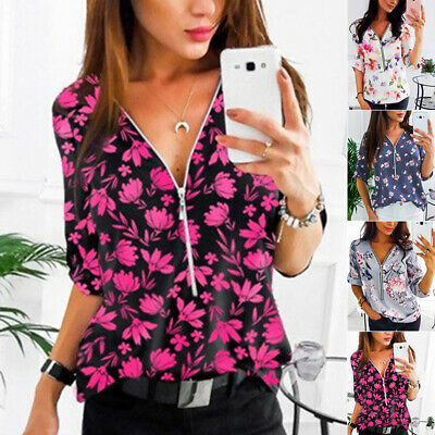 Womens Casual Plus Size Tops Half Sleeve Zipper Sexy Party Floral Print Shirts