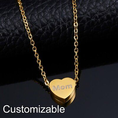 Personalized Engraved Custom Heart Chain Stainless Steel Pendant Necklace Gift