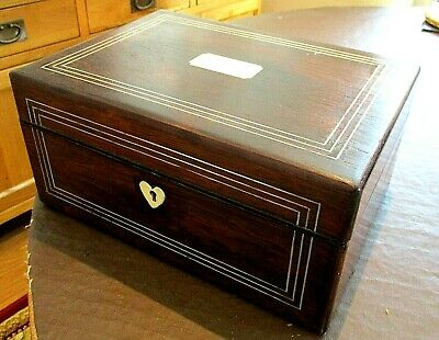 Victorian Rosewood Ladies Travelling Sewing Box,Inner Tray,Tea Compartments.