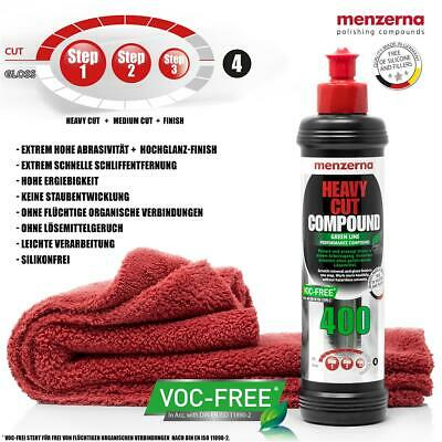 menzerna HEAVY CUT COMPOUND HCC 400 GREEN LINE Politur + Poliertuch 550 GSM