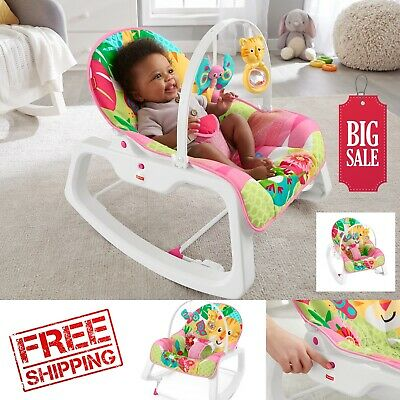 Fisher-Price Infant-To-Toddler Rocker, Teal Safari with Removable Bar