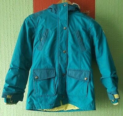 Age 8-9 Raincoat Lands'end Aquamarine Fluffy Fleece Line Zip and poppers closure