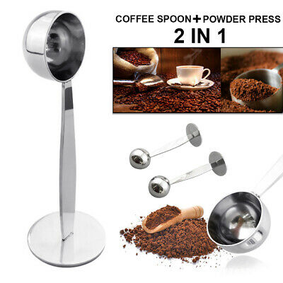 2 in 1 Stainless Steel Espresso Coffee Tamper Measuring Spoon Scoop with Stands