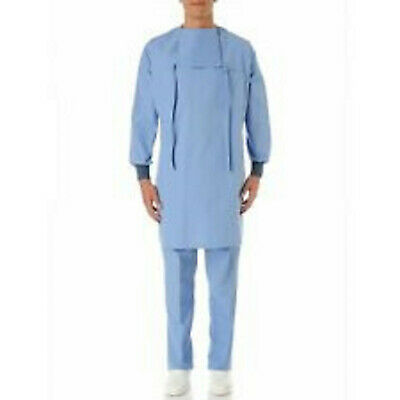 LAB COAT unisex Chirurgical for Hospital Dentist Veteri with Bib blue clear sky