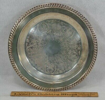 silver plate tray footed 12.5 round 2 in deep silver on copper replica antique