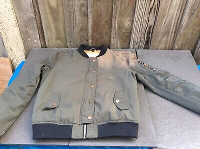 River Island Girls Khaki Acid Wash Zip-Up Bomber Jacket 10/11/12 Years(Damaged)