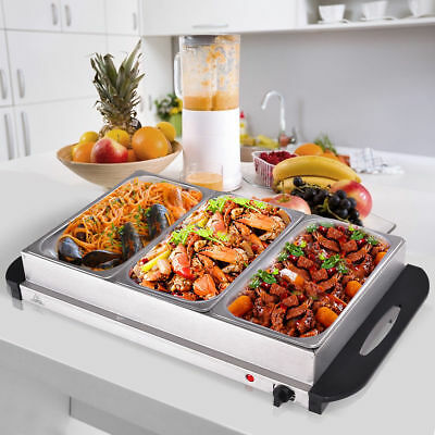 Food Warmer Buffet Server Hot Plate 3 Tray Adjustable Temperature 300W Party