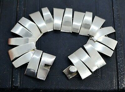 Vintage STERLING SILVER Taxco Mexico Modernist Chunky BRACELET Signed TC-330