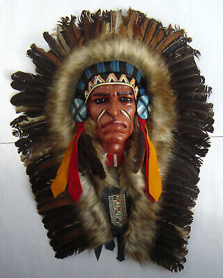 Large Red Indian Chief Wall Mask
