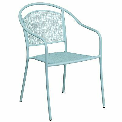 Flash Furniture Indoor-Outdoor Steel Patio Arm Chair with Round Back - SKY