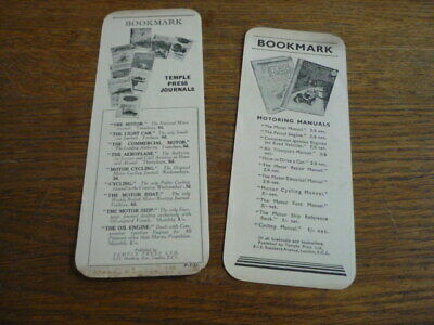 TEMPLE PRESS 1930's, MOTORING BOOK MARKS - 2 OF